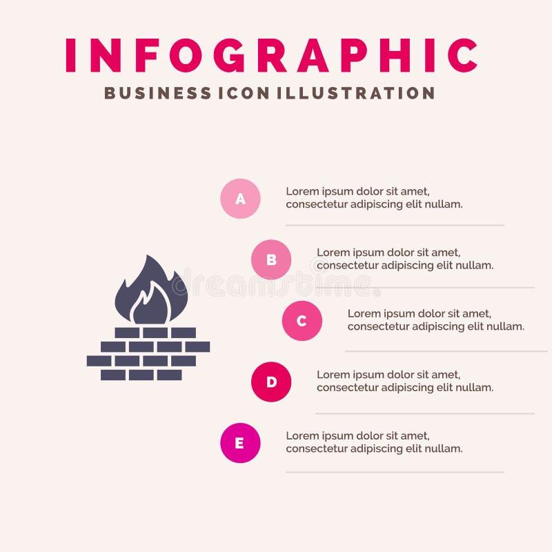 Antivirus, komputer, zapora, sieć, ochrony ikony Infographics 5 kroków prezentacji Stały tło royalty ilustracja