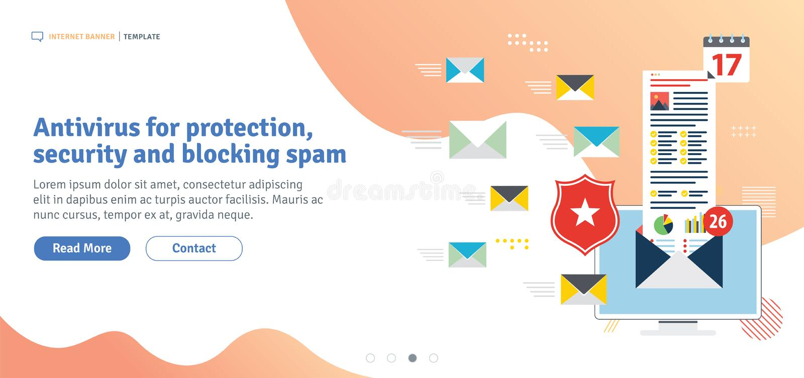 Antivirus for protection, security and blocking spam. Protect of privacy, virus and phishing. Template in flat design for web banner or infographic in vector stock illustration