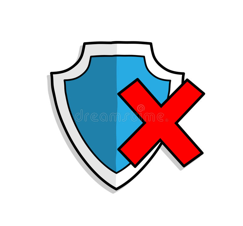 Antivirus Shield Protection OFF vector illustration
