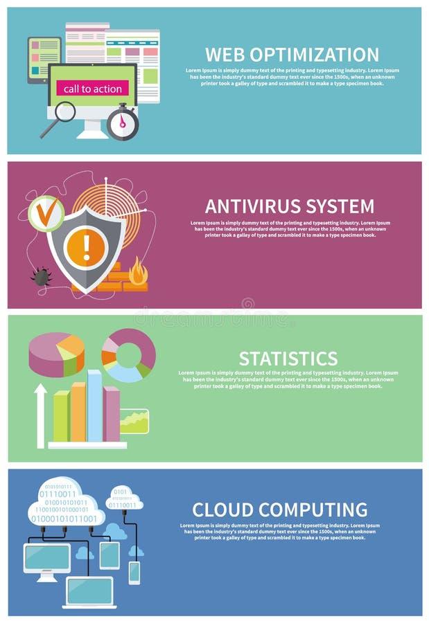 Antivirus systeem, wolk die, statistieken gegevens verwerken royalty-vrije illustratie