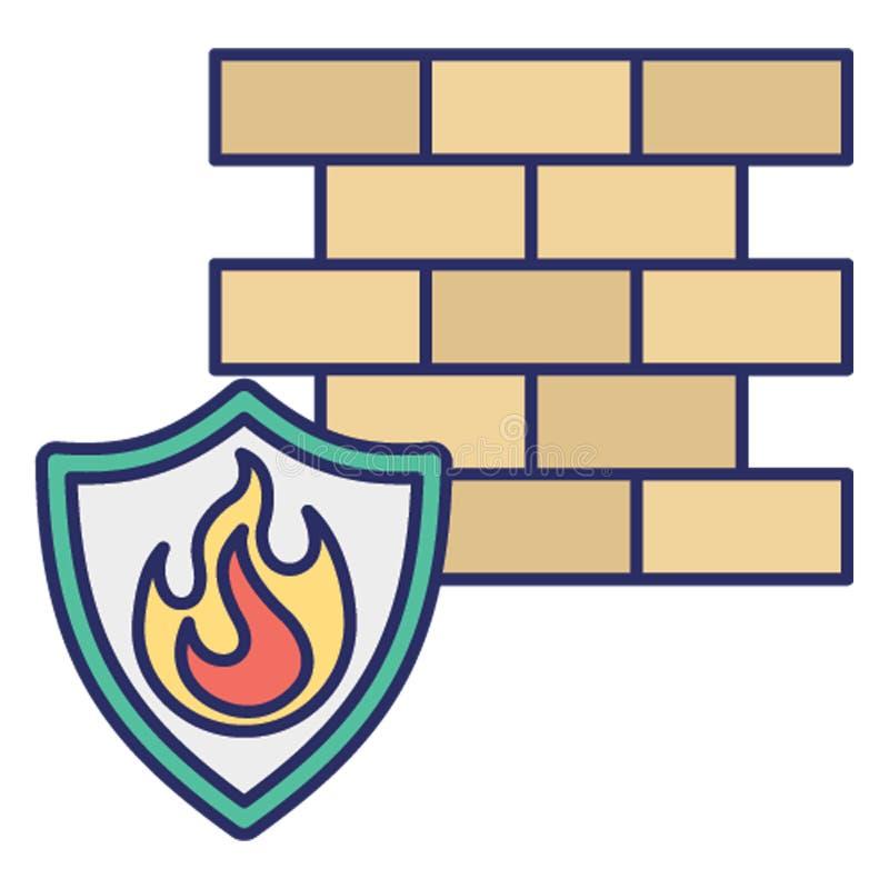 Antivirusfirewall, symbol för databrännskadavektor som kan lätt ändra eller redigera vektor illustrationer