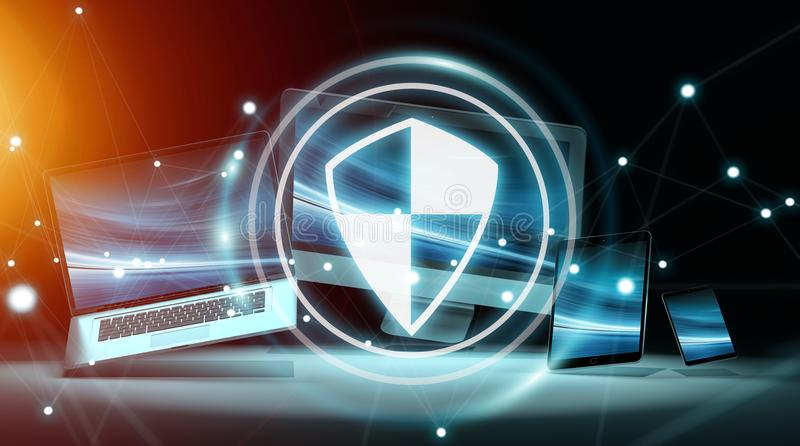 Antivirusmanöverenhet över modern tolkning för techapparater 3D vektor illustrationer