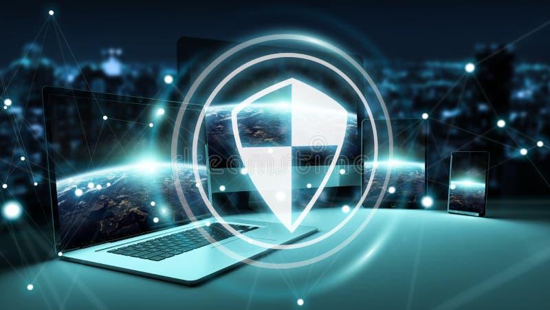 Antivirusmanöverenhet över modern tolkning för techapparater 3D royaltyfri illustrationer