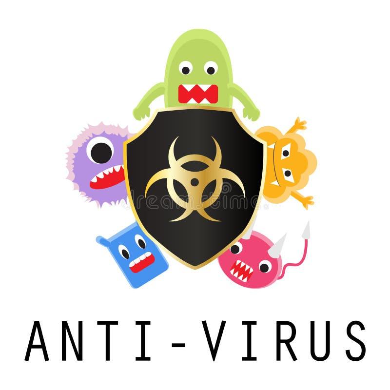 Antivirusschild mit Viruskarikatur stock abbildung