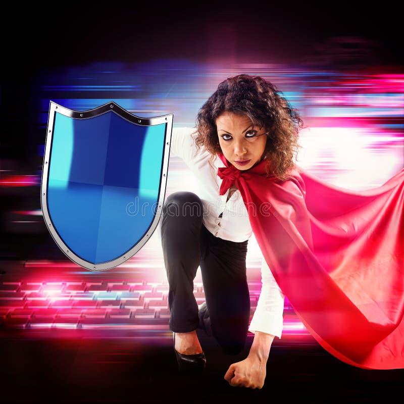 Antivirussuperhero royaltyfri fotografi