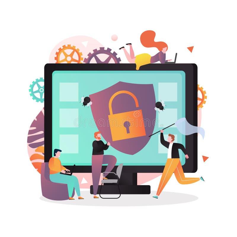 Antivirusvektorkonzept für Netzfahne, Websiteseite stock abbildung