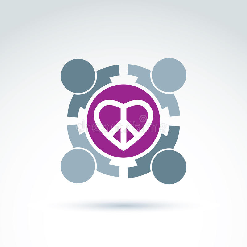 Antiwar and love vector icons. People holding hands around a loving heart sign with peace symbol from 60th. Harmony relationship royalty free illustration