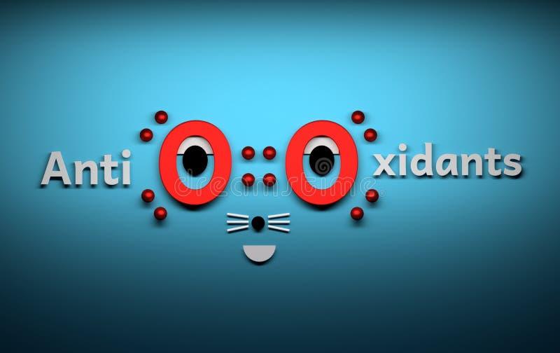 Antixidants mit lustigem Gesicht lizenzfreie abbildung