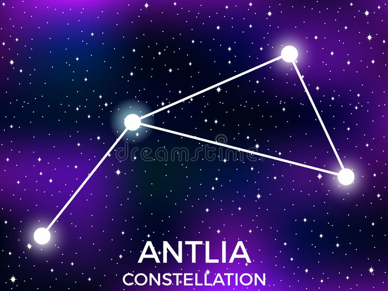 Antlia constellation. Starry night sky. Cluster of stars and galaxies. Deep space. Vector. Illustration royalty free illustration