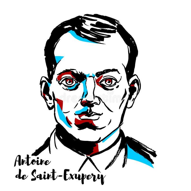 Antoine de Saint-Exupery-portret royalty-vrije illustratie