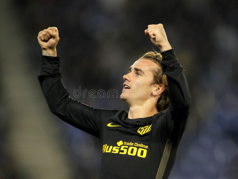 Antoine Griezmann of Atletico de Madrid. Celebrates goal during a Spanish League match against RCD Espanyol at the RCDE Stadium on May 6 2017 in Barcelona Spain stock images