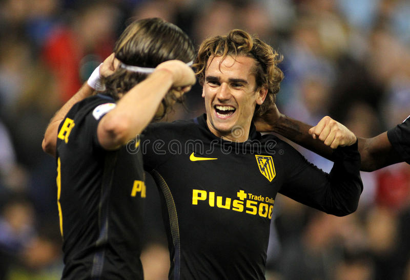 Antoine Griezmann of Atletico de Madrid. Celebrates goal during a Spanish League match against RCD Espanyol at the RCDE Stadium on May 6 2017 in Barcelona Spain royalty free stock photos