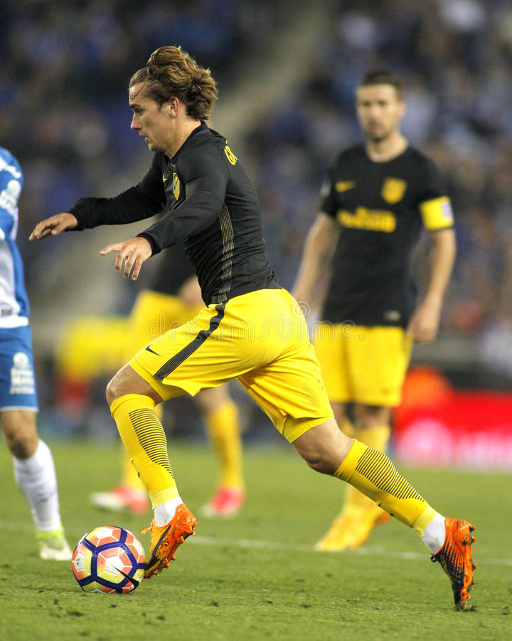 Antoine Griezmann of Atletico de Madrid. During a Spanish League match against RCD Espanyol at the RCDE Stadium on May 6 2017 in Barcelona Spain stock image