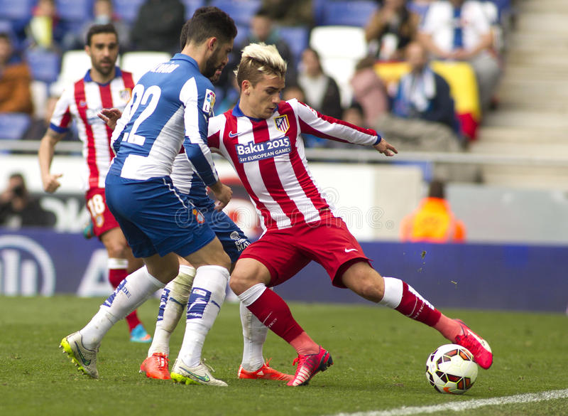 Antoine Griezmann of Atletico Madrid. During a Spanish League match against RCD Espanyol at the Estadi Cornella on March 14, 2015 in Barcelona, Spain stock image