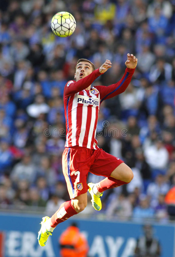 Antoine Griezmann of Atletico Madrid. During a Spanish League match against RCD Espanyol at the Power8 stadium on April 9, 2016 in Barcelona, Spain royalty free stock photo