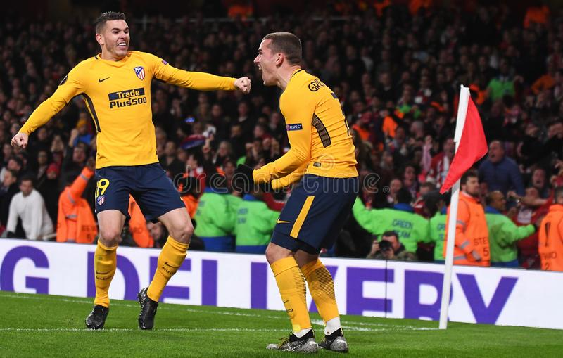 Antoine Griezmann. Atletico players celebrate a goal scored during the 2017/18 UEFA Europa League Semi-final 1st leg game between Arsenal FC and Atletico Madrid royalty free stock photography
