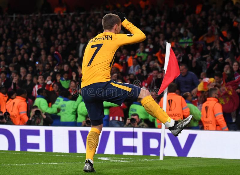 Antoine Griezmann. Atletico players celebrate a goal scored during the 2017/18 UEFA Europa League Semi-final 1st leg game between Arsenal FC and Atletico Madrid stock image