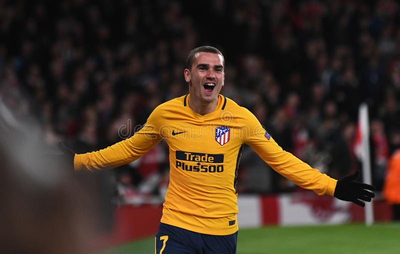 Antoine Griezmann. Atletico players celebrate a goal scored during the 2017/18 UEFA Europa League Semi-final 1st leg game between Arsenal FC and Atletico Madrid stock images