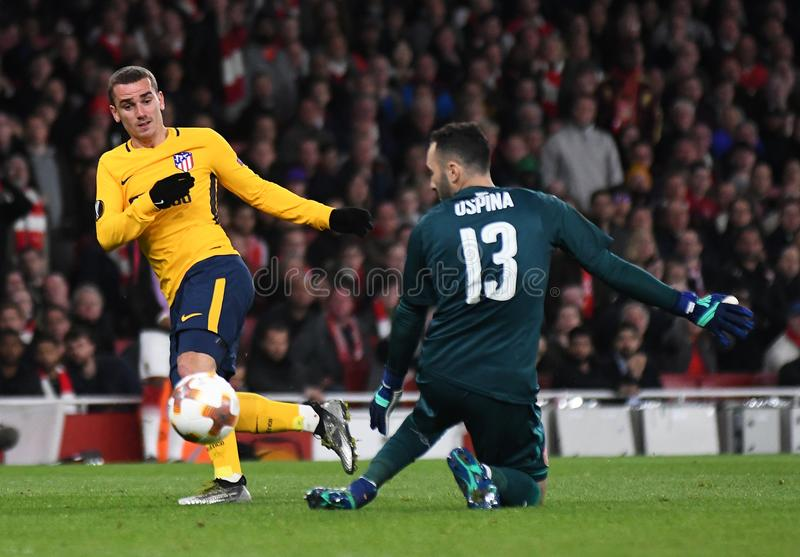 Antoine Griezmann and David Ospina. Players pictured during the 2017/18 UEFA Europa League Semi-final 1st leg game between Arsenal FC and Atletico Madrid held on stock photos