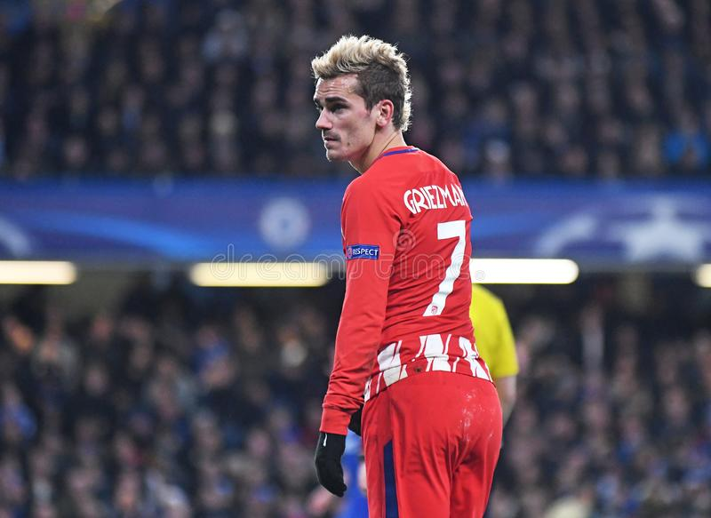 Antoine Griezmann. Football players pictured during the UEFA Champions League Group C game between Chelsea FC and Atletico Madrid on December 5, 2017 at Stamford royalty free stock photography