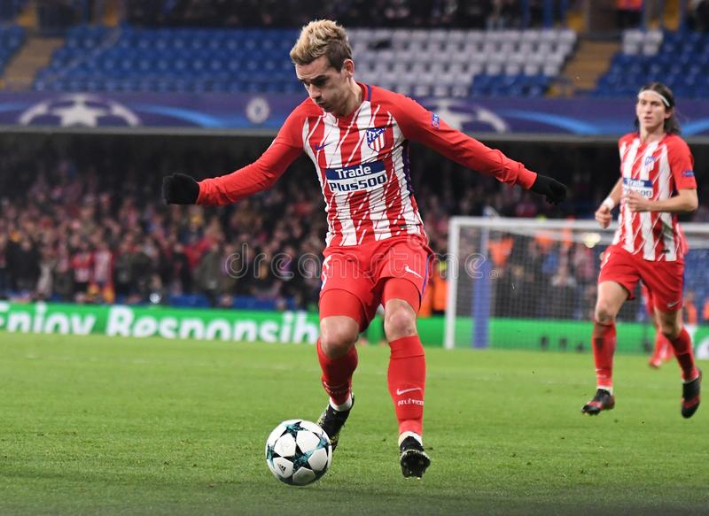 Antoine Griezmann. Football players pictured during the UEFA Champions League Group C game between Chelsea FC and Atletico Madrid on December 5, 2017 at Stamford royalty free stock image