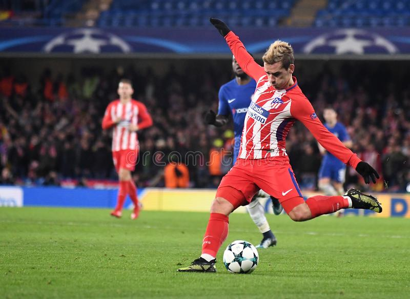 Antoine Griezmann. Football players pictured during the UEFA Champions League Group C game between Chelsea FC and Atletico Madrid on December 5, 2017 at Stamford stock images