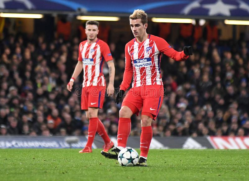 Antoine Griezmann. Football players pictured during the UEFA Champions League Group C game between Chelsea FC and Atletico Madrid on December 5, 2017 at Stamford royalty free stock images