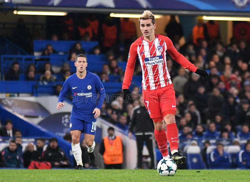 Antoine Griezmann. Football players pictured during the UEFA Champions League Group C game between Chelsea FC and Atletico Madrid on December 5, 2017 at Stamford royalty free stock photos