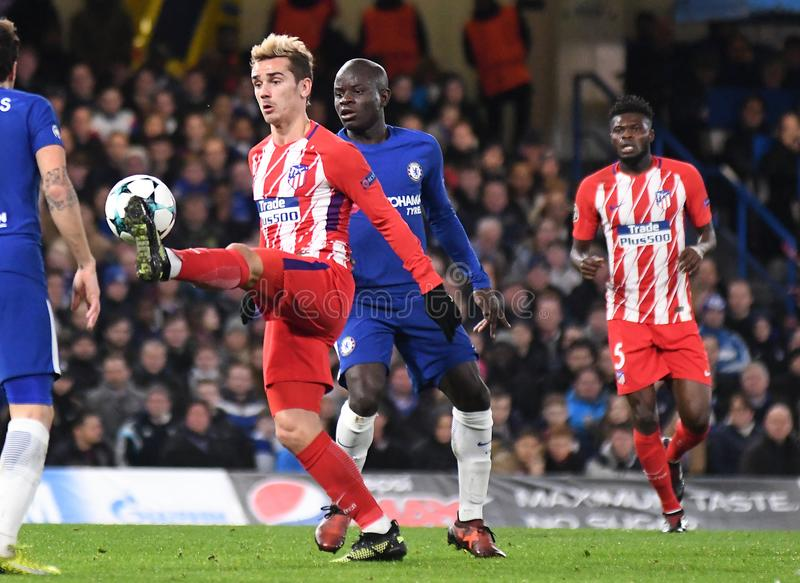 Antoine Griezmann. Football players pictured during the UEFA Champions League Group C game between Chelsea FC and Atletico Madrid on December 5, 2017 at Stamford stock image