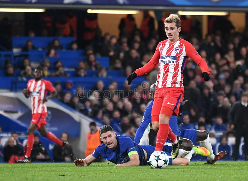 Antoine Griezmann. Football players pictured during the UEFA Champions League Group C game between Chelsea FC and Atletico Madrid on December 5, 2017 at Stamford royalty free stock photo