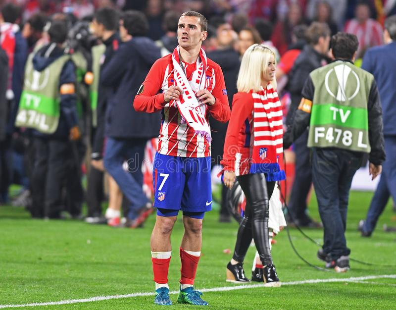 Antoine Griezmann and his wife. Players pictured after the 2017/18 UEFA Europa League Final between Olympique de Marseille and Atletico de Madrid held on 16th of royalty free stock photos