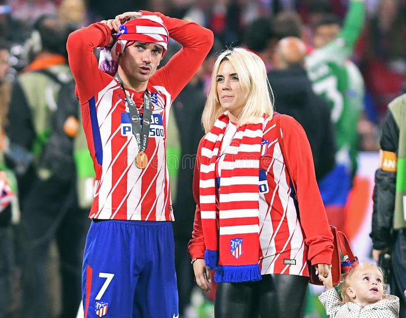 Antoine Griezmann and his wife. Players pictured after the 2017/18 UEFA Europa League Final between Olympique de Marseille and Atletico de Madrid held on 16th of royalty free stock photo