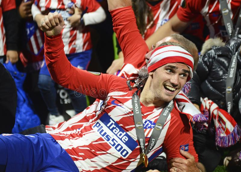 Antoine Griezmann. Players celebrate after the 2017/18 UEFA Europa League Final between Olympique de Marseille and Atletico de Madrid held on 16th of May 2018 in royalty free stock images