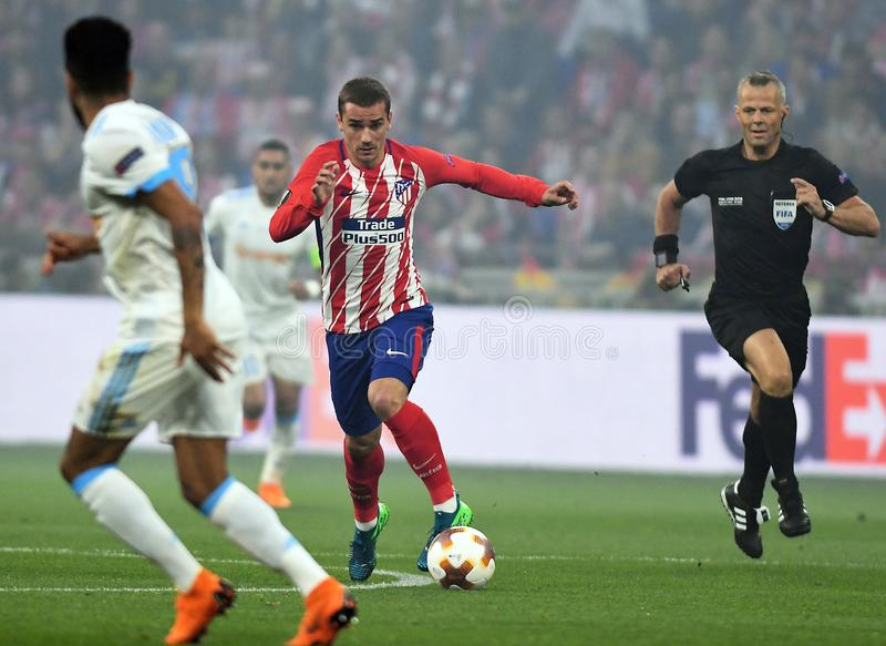 Antoine Griezmann. Players pictured during the 2017/18 UEFA Europa League Final between Olympique de Marseille and Atletico de Madrid held on 16th of May 2018 in stock image