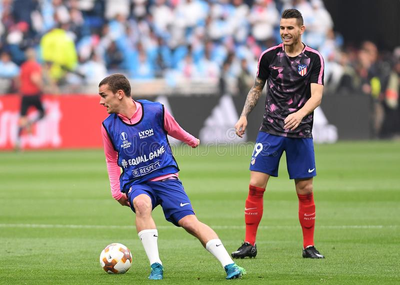 Antoine Griezmann. Players pictured during the 2017/18 UEFA Europa League Final between Olympique de Marseille and Atletico de Madrid held on 16th of May 2018 in royalty free stock photography