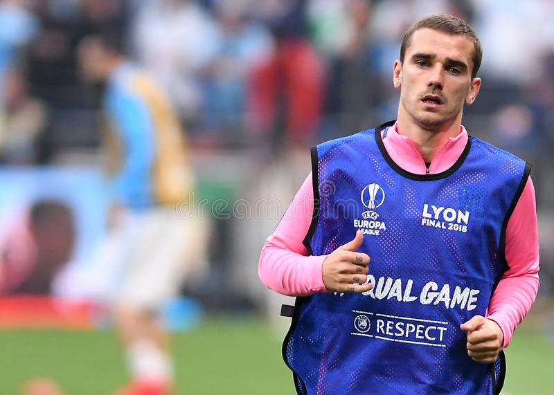 Antoine Griezmann. Players pictured during the 2017/18 UEFA Europa League Final between Olympique de Marseille and Atletico de Madrid held on 16th of May 2018 in royalty free stock photo