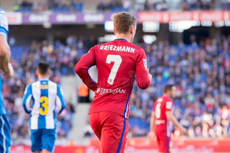 Antoine Griezmann plays at the La Liga match between RCD Espanyol and Atletico de Madrid. BARCELONA, SPAIN - APR 9: Antoine Griezmann plays at the La Liga match royalty free stock photography
