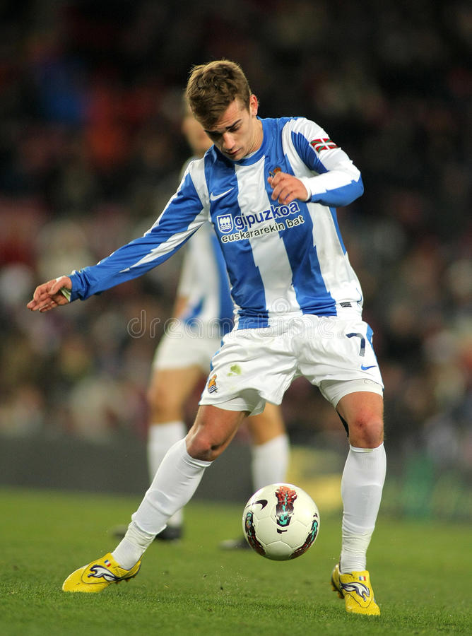 Antoine Griezmann of Real Sociedad. In action during the Spanish league match against FC Barcelona at the Camp Nou stadium on February 4, 2012 in Barcelona stock photos