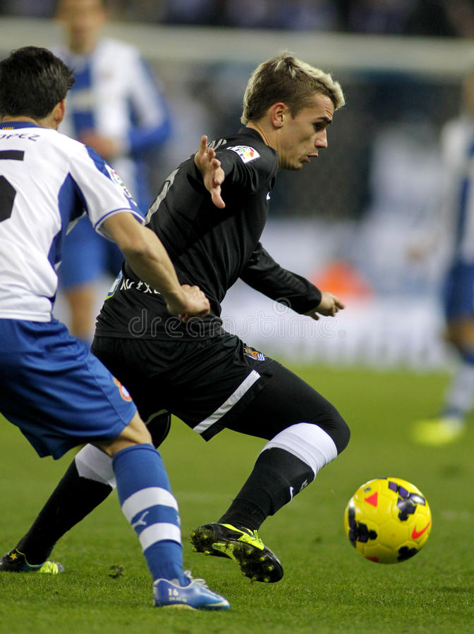 Antoine Griezmann of Real Sociedad. In action during a Spanish League against RCD Espanyol match at the Estadi Cornella on November 30, 2013 in Barcelona, Spain stock images