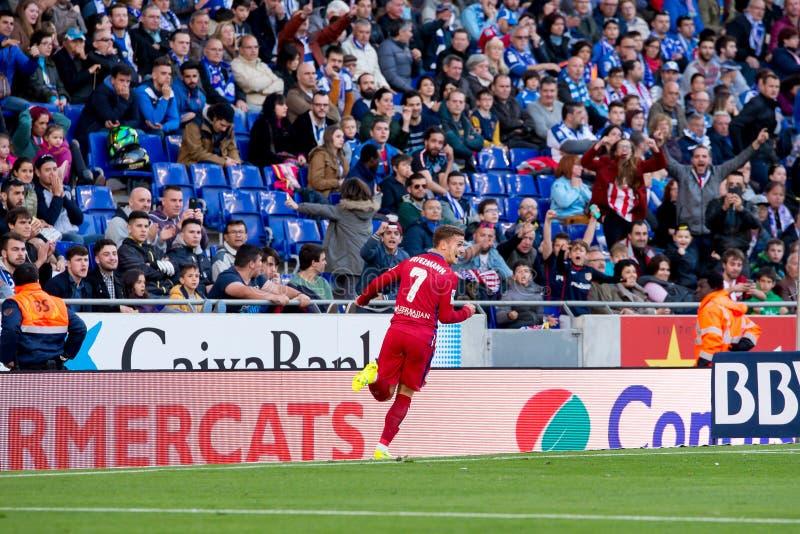 Antoine Griezmann sztuki przy losem angeles Liga dopasowywają między rcd espanyol de Madryt i Atletico obrazy royalty free
