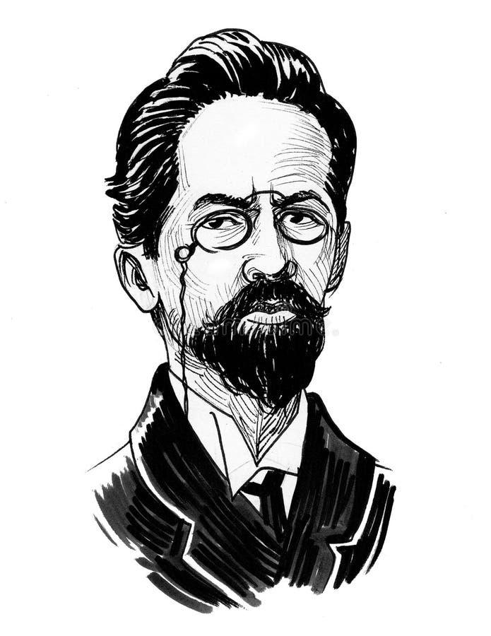 Anton Chekhov stock illustrationer