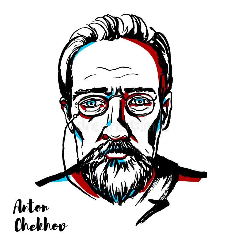 Anton Chekhov Portrait stock illustrationer