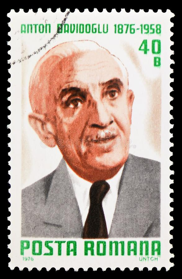 Anton Davidoglu (1876-1958), Mathematician, Cultural Anniversaries 1976 serie, circa 1976. MOSCOW, RUSSIA - FEBRUARY 10, 2019: A stamp printed in Romania shows stock images
