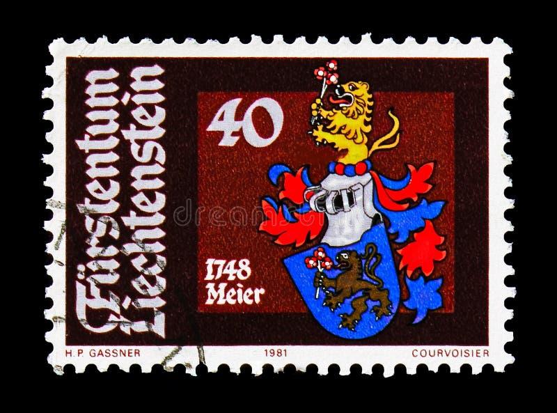 Anton Meier 1748, Heraldry serie, circa 1981. MOSCOW, RUSSIA - AUGUST 18, 2018: A stamp printed in Liechtenstein shows Anton Meier 1748, Heraldry serie, circa stock image