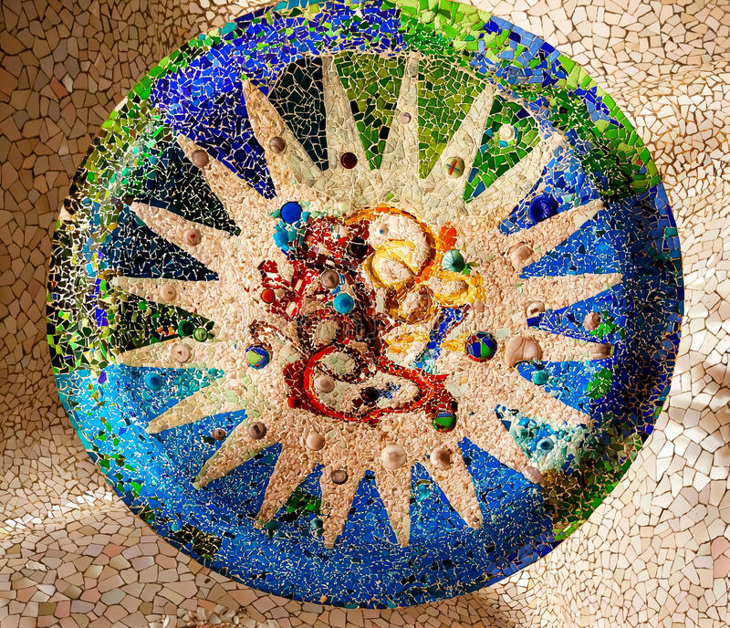 Antoni Gaudi Ceramic Mosaic Design Guell Park Barcelona Catalonia Spain. Antoni Gaudi ceramic mosaic design in Guell Park, Barcelona, Catalonia, Spain. Guell royalty free stock photo