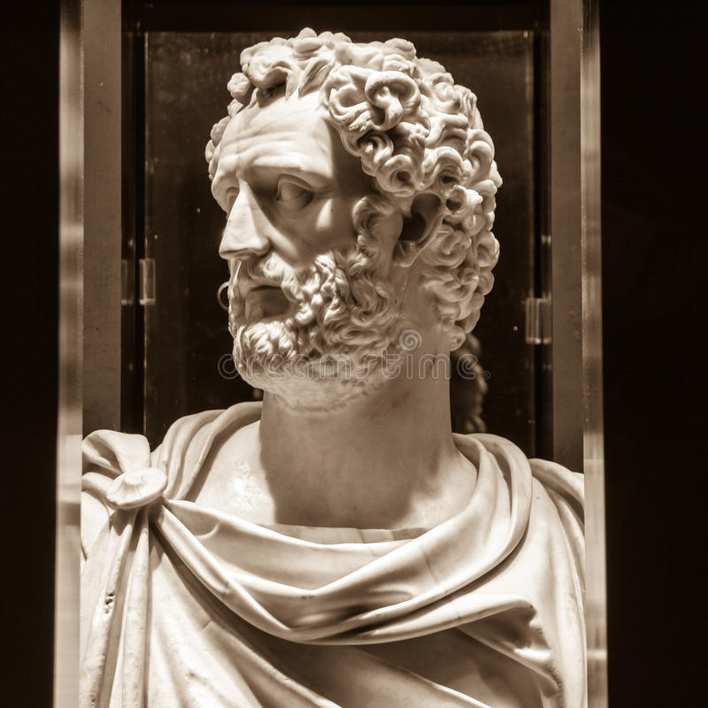 Antoninus Pius (86-161, reign 138-161). POLAND, POZNAN - 23 DEC 2014: Antoninus Pius (86-161, reign 138-161), 150-160 marble, bust and head supplement from the royalty free stock photo