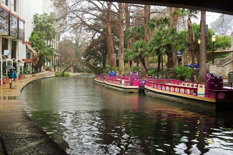 antonio小船riverwalk圣 图库摄影