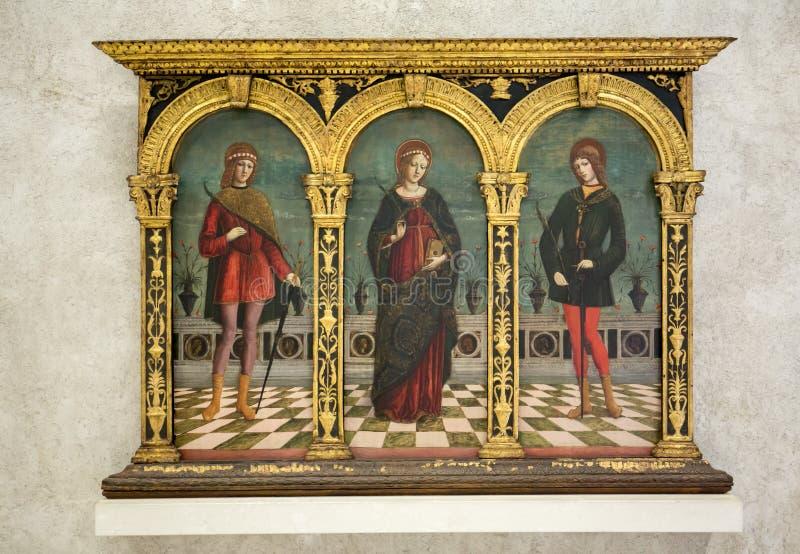 Antonio Badile II - Heilige Cecilia, Tiburtius und Baldrian in Castelvecchio-Museum Verona, lizenzfreies stockbild