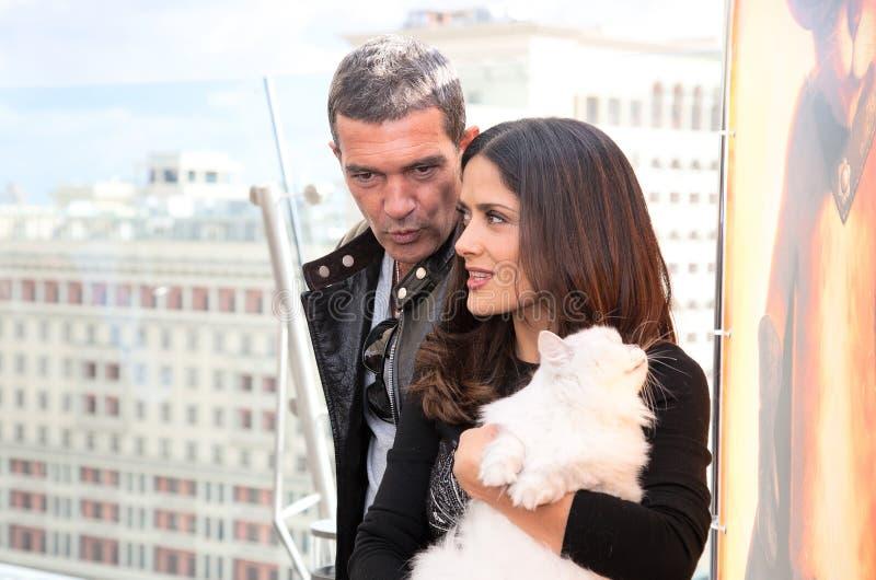 Antonio Banderas And Salma Hayek Arriving At T Editorial Photography