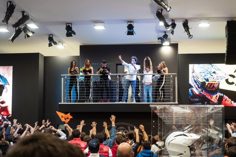 Antonio Cairoli nine-time Grand Prix motocross world champion is on stage at EICMA 2019 stock images